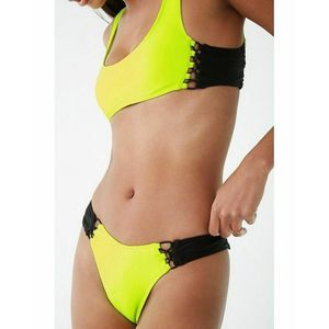 Forever 21 Neon Colorblock Laced Bikini Bottoms